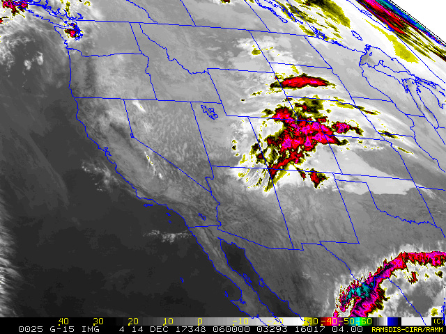 Infrared satellite image from GOES-West at 0600 UTC (11 P.M. MST).