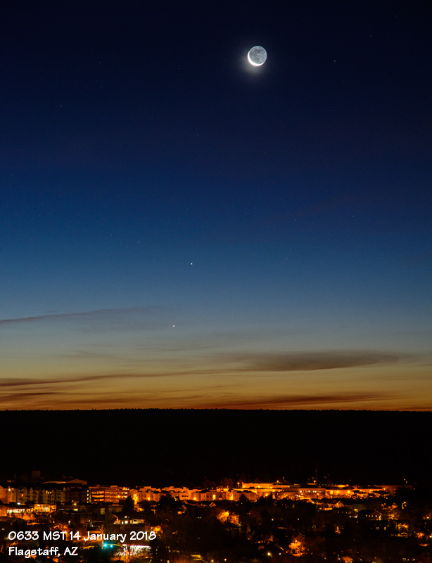 The waning crescent moon (~5% illuminated) sits above the planetary pair of Mercury and Saturn.