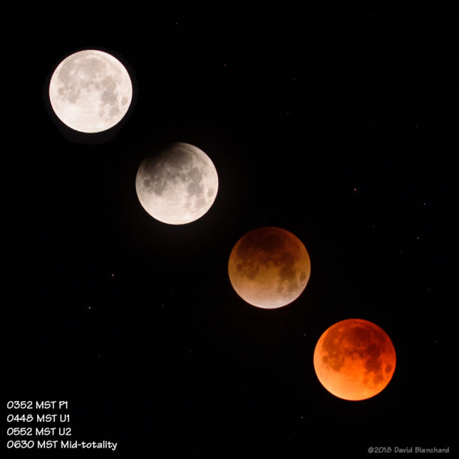Four stages of the total lunar eclipse of 31 January 2018.