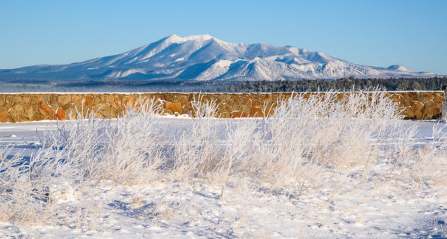 San Francisco Peaks as seen from the Mormon Lake Overlook.