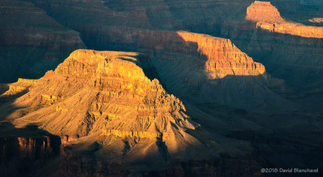 Late afternoon sun in Grand Canyon.