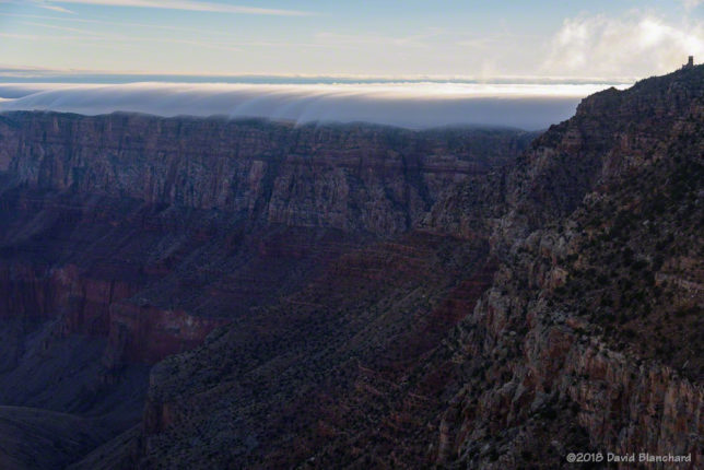 Fog begins to spill over the rim of Grand Canyon.