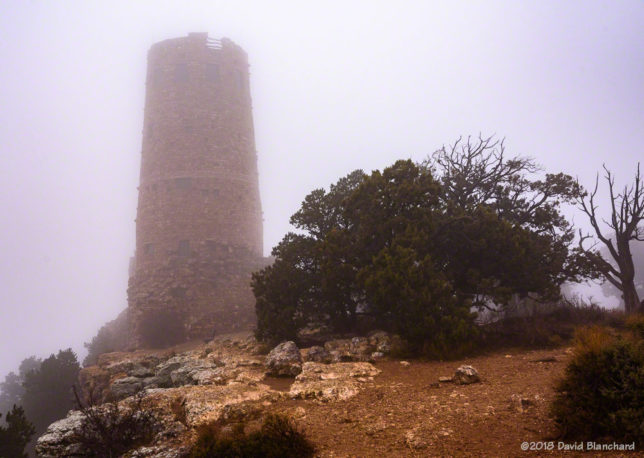 Fog swirls around Desert Watchtower.