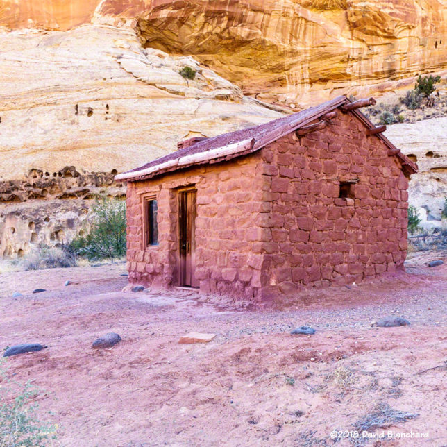 The Elijah Cutler Behunin Cabin in Capitol Reef National Park.