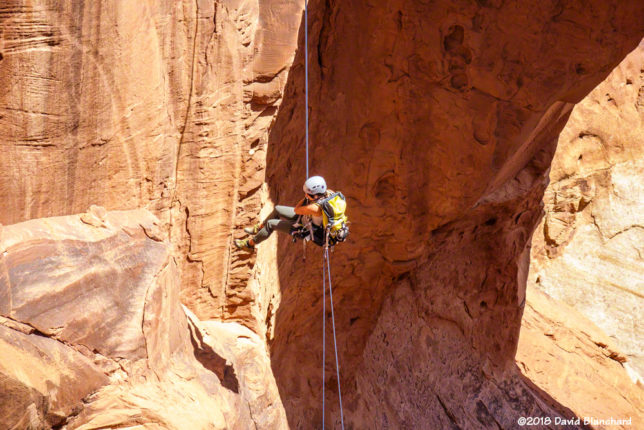 Rappelling below Cassidy Arch, Capitol Reef N.P.