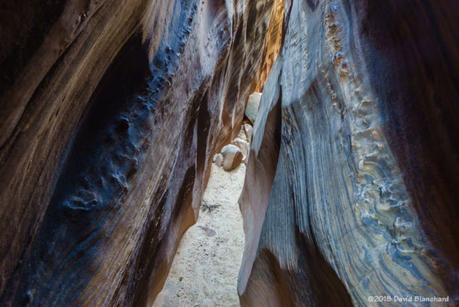 Narrow and tilted! Burro Wash, Capitol Reef National Park.