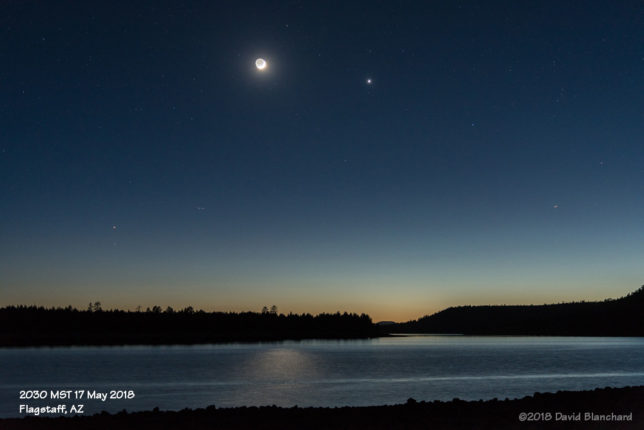 Moon and Venus above Lake Mary.