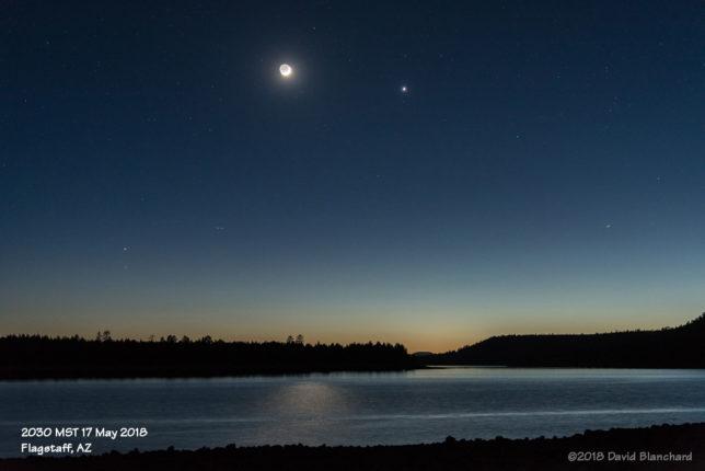 Moon and Venus above Lake Mary.
