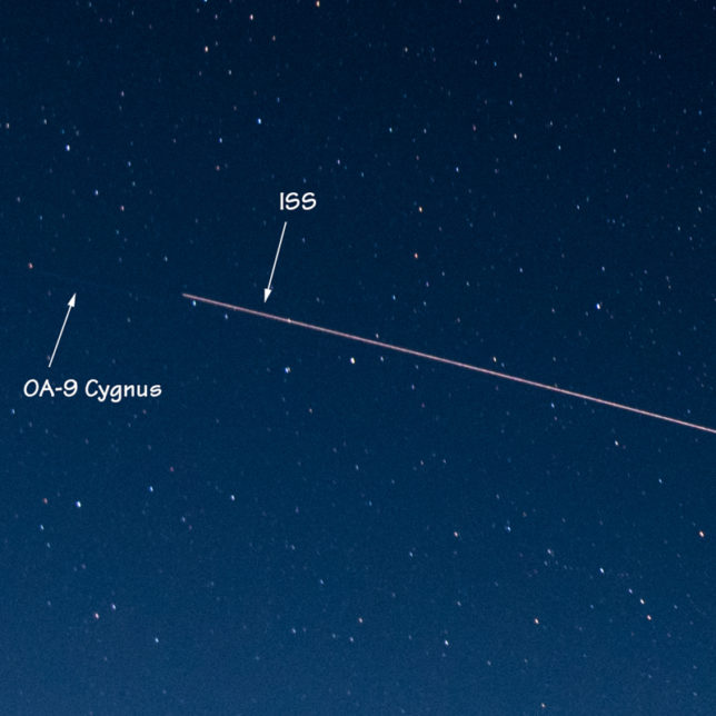 The ISS and OA-9 Cygnus move across the sky.