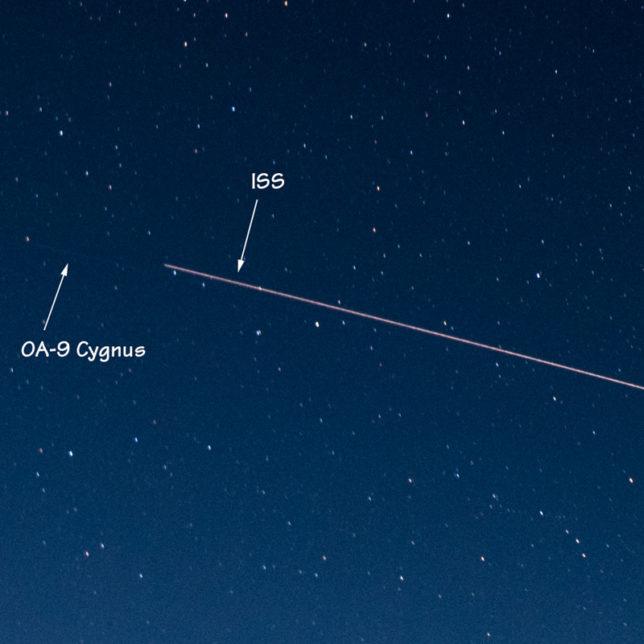 The ISS and OA-9 Cygnus move across the sky.
