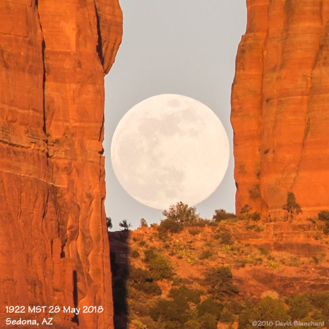 Moonrise above Cathedral Rock in Sedona, Arizona.