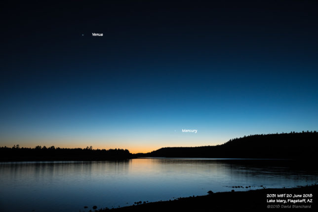 Venus and Mercury in evening twilight.