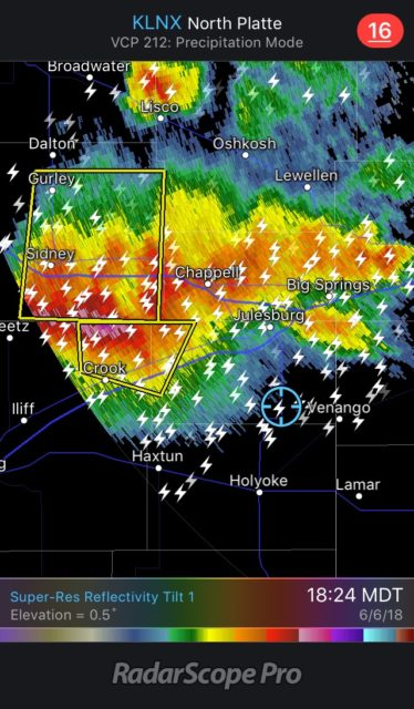Staying southeast of the main storm cores to avoid hail. Note how far to the southeast the lightning is striking from the main storm!