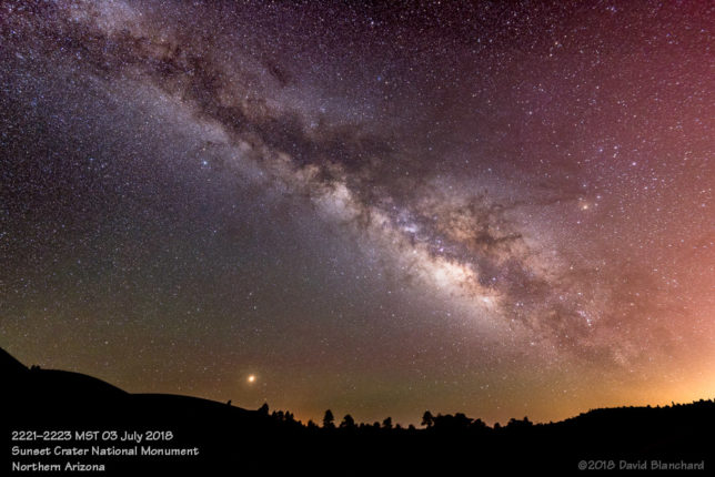 The Milky Way arches across the sky at Sunset Crater Volcano National Monument.