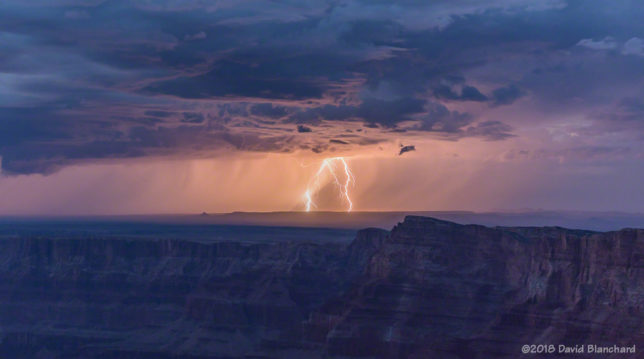 Lightning over the Painted Desert as seen from South Rim of Grand Canyon.