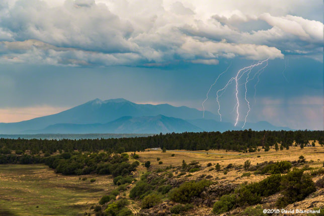 A composite of four images showing multiple lightning strikes on the San Francisco Peaks. These storms dropped almost 6 inches of rain in under 3 hours.