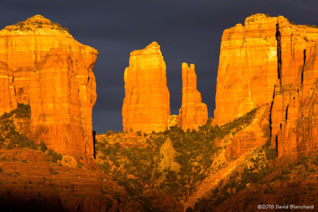 Dark skies behind Cathedral Rock.