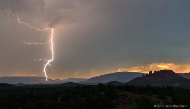 Lightning west of Sedona, Arizona.