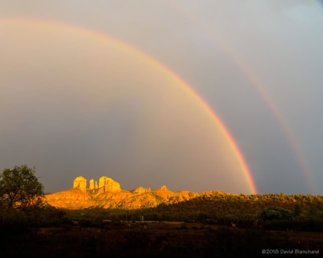 A double rainbow above Cathedral Rock in Sedona.
