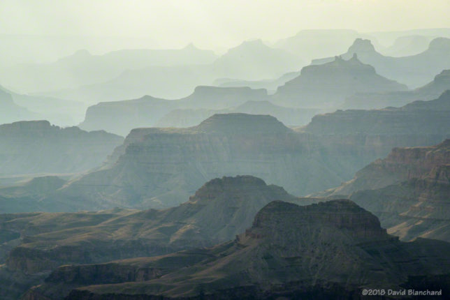 Smoke from the Obi Fire fills Grand Canyon and reduces visibility.