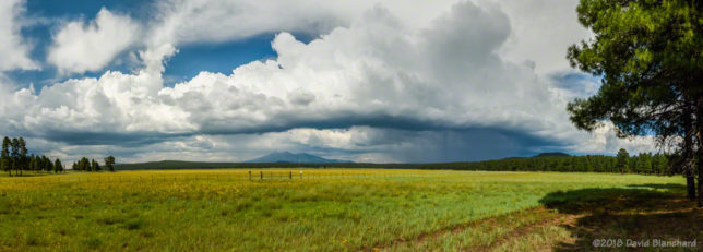Outflow boundary and convection over Rogers Lake with the San Francisco Peaks in the distance.