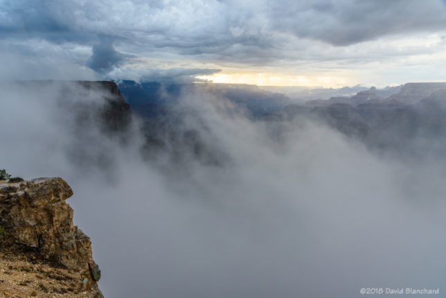 A long-lived cluster of thunderstorms east of Grand Canyon pushed a cool, moist outflow into the canyon producing areas of fog near the South Rim.