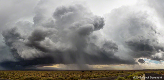 View of rapidly developing convection east of Wupatki National Monument (Panorama from northeast through south).