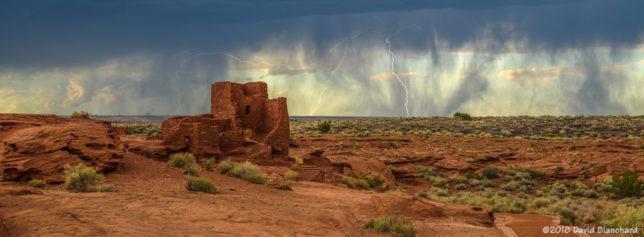 Several bolts strike behind Wukoki Pueblo in Wupatki National Monument.
