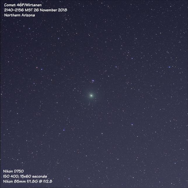 Comet 46P/Wirtanen (85mm, f/2.8, ISO 400, 15x60s)