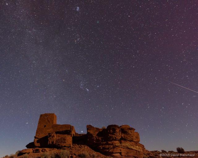 Geminid meteor, Comet 46P/Wirtanen and Wukoki Pueblo.