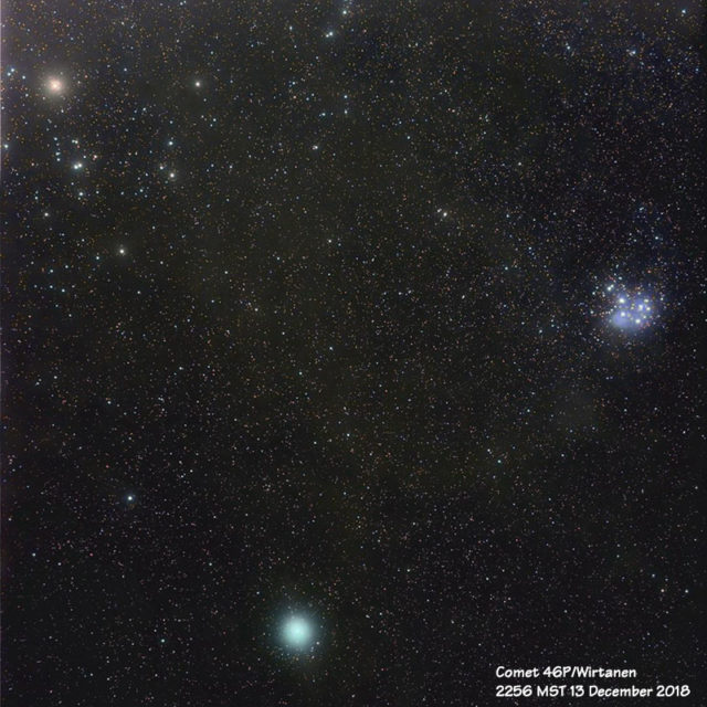 Comet 46P/Wirtanen with the Pleiades and Hyades star clusters.