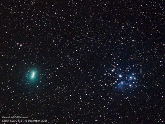 The motion of Comet 46P/Wirtanen is seen as a short streak in this one-hour composite image.