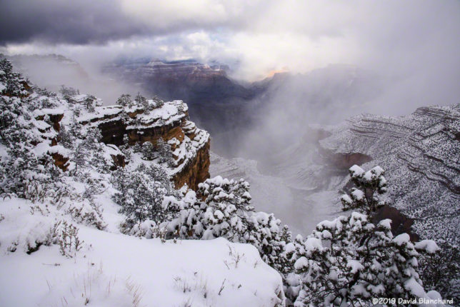 A winter storm slowly departs Grand Canyon.