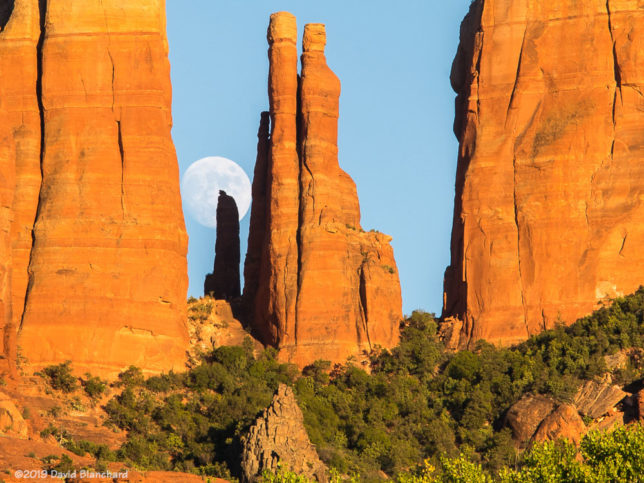 Moon rise behind Cathedral Rock (12 August 2019).