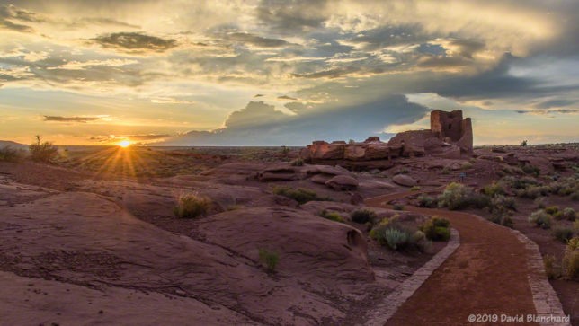 The sun sets over Wupatki National Monument.