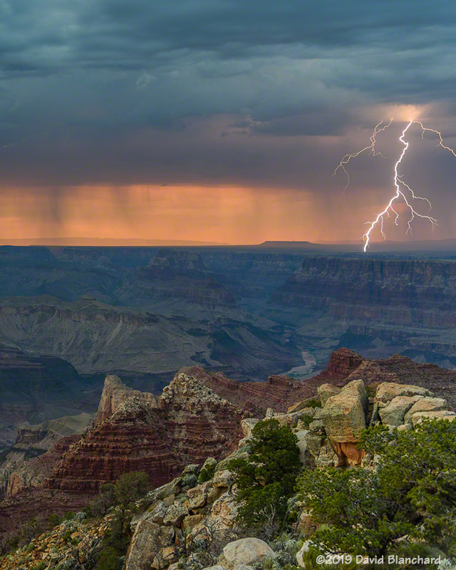Lightning strikes near the confluence of Grand Canyon and Little Colorado River.