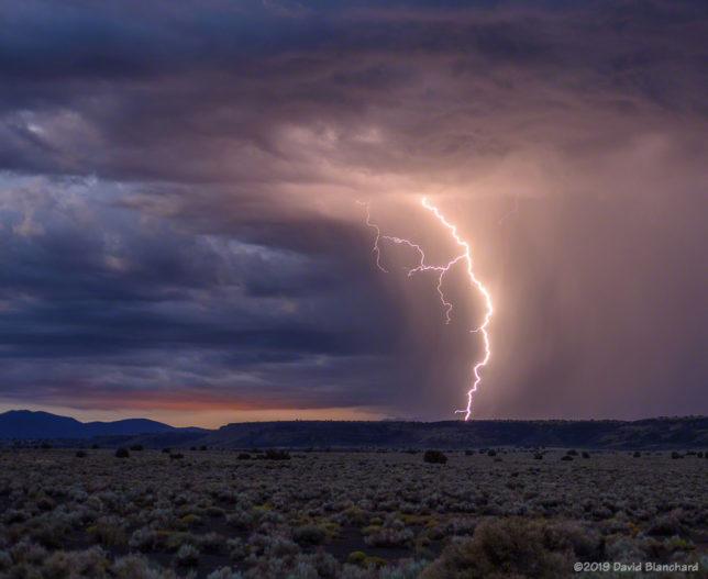 Twilight lightning in Wupatki National Monument.
