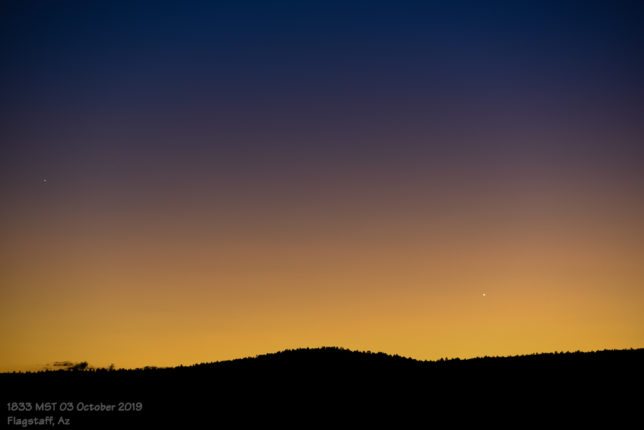 Mercury and Venus in evening twilight.