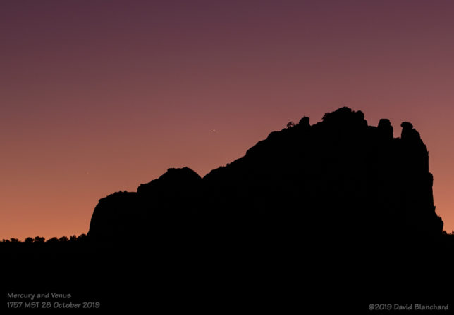 Venus and Mercury set behind Cathedral Rock.