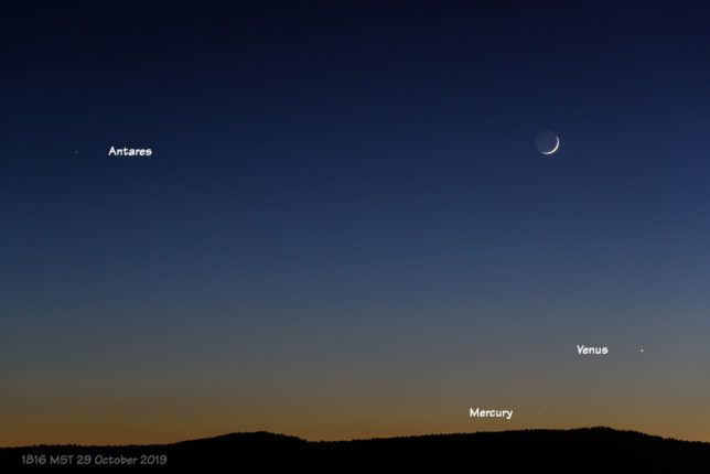 Moon, Venus, Mercury, and Antares in evening twilight.