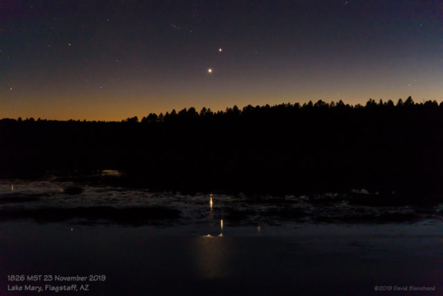 Venus and Jupiter and their reflections in November 2019.