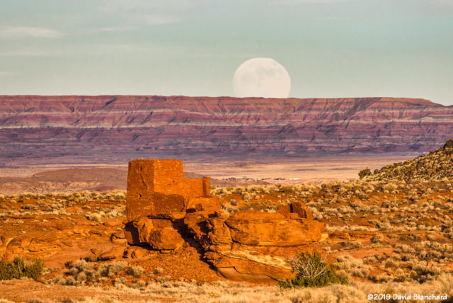 Moonrise over Wukoki Pueblo, Wupatki National Monunent.