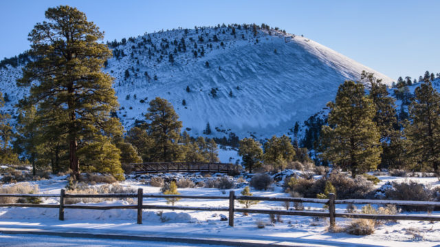 New snow covers Sunset Crater.