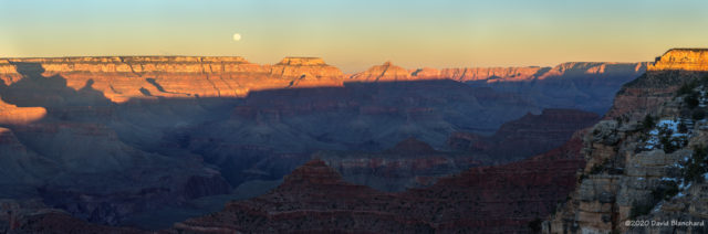 Moonrise over North Rim of Grand Canyon.