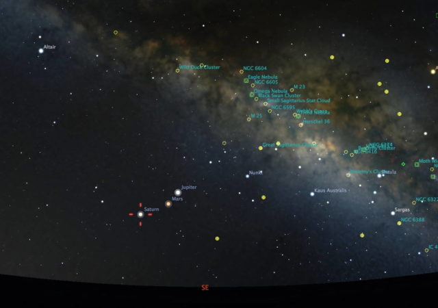 Stellarium star chart showing positions of the planets in the morning sky.