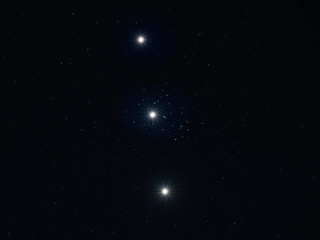 Composite image of Venus and Pleiades.