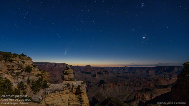 Comet NEOWISE rises above Grand Canyon. Also visible are Venus, Hyades, and Pleiades.