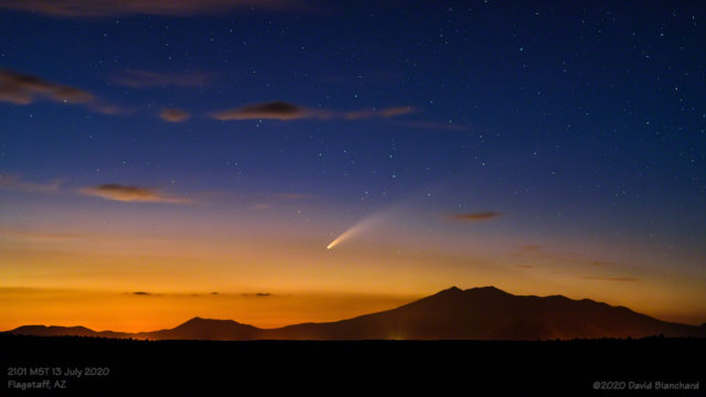 Comet C/2020 F3 (NEOWISE) is visible in the evening twilight over Flagstaff, Arizona.