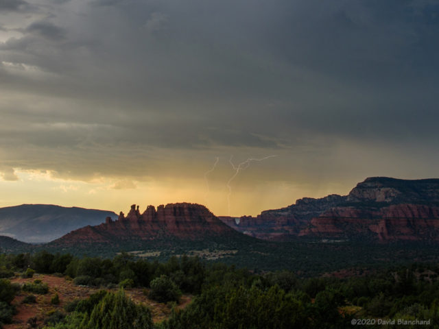 Sunset and lightning north of Sedona.