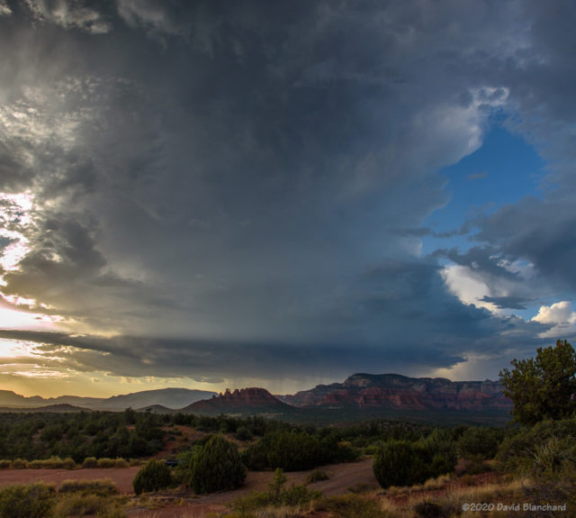 A well-developed thunderstorm over the Mogollon Rim viewed from Sedona.